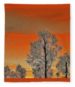 Red Sunset With Trees Fleece Blanket