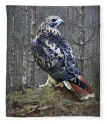 Red Tailed Hawk Perched On A Rock Fleece Blanket