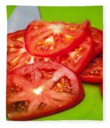 Red Tomato Slices And Knife On Green Chopping Board Fleece Blanket