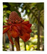 Red Torch Ginger Lily In Hawaii Fleece Blanket