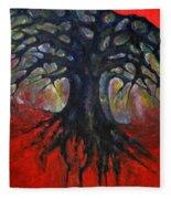 Red Tree Fleece Blanket