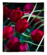 Red Tulip River Fleece Blanket
