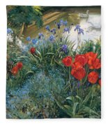 Red Tulips And Geese  Fleece Blanket
