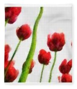 Red Tulips From The Bottom Up Triptych Fleece Blanket