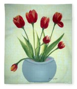 Red Tulips In A Pot Fleece Blanket