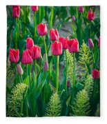Red Tulips In Skagit Valley Fleece Blanket