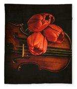 Red Tulips On A Violin Fleece Blanket