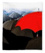 Red Umbrella In The City Fleece Blanket