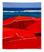 Red Umbrellas  Fleece Blanket
