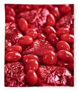 Red Valentine Candy Hearts Fleece Blanket
