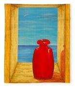 Red Vase Fleece Blanket