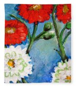Red White And Blue Flowers Fleece Blanket