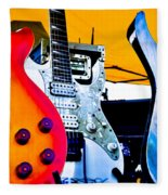 Red White And Blue Guitars Fleece Blanket