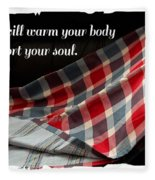 Red White And Blue Quilt With Quote Fleece Blanket