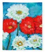 Red White And Blue Zinnia Flowers Fleece Blanket