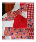 Red White And Gingham With Flowery Blocks Patchwork Quilt Fleece Blanket