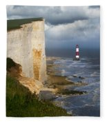 White Cliffs And Red-white Striped Lightouse In The Sea Fleece Blanket