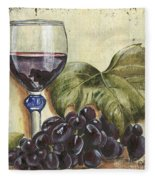 Red Wine And Grape Leaf Fleece Blanket