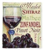 Red Wine Text Fleece Blanket