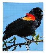 Red Wing Blackbird 2 Fleece Blanket