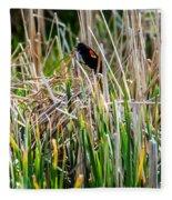 Red-winged Black Bird In The Cattails Fleece Blanket