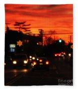 Red Winter Sunset Over Long Island Suburbs Fleece Blanket