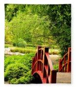 Red Wooden Bridge Fleece Blanket