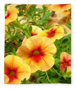 Red Yellow Morning Glories Fleece Blanket