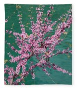 Redbuds Over San Antonio River Fleece Blanket