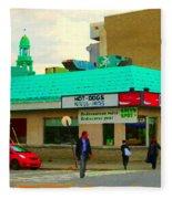 Rediscover Your Greenspot Notre Dame St Henri Dogs Et Frites Urban Food City Scenes Carole Spandau  Fleece Blanket