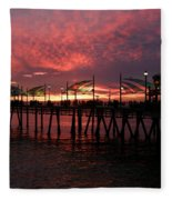Redondo Beach Pier At Sunset Fleece Blanket