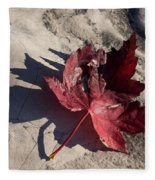 Reds And Purples - Deep Red Maple Leaf And Its Shadow Fleece Blanket