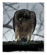 Redtail Hawk And Mouse Fleece Blanket