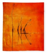 Reeds And Reflection In Orange Fleece Blanket