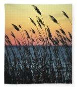 Reeds At Sunset Island Beach State Park Nj Fleece Blanket