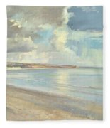 Reflected Clouds Oxwich Beach Fleece Blanket