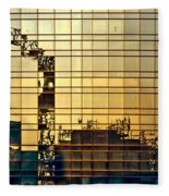 Reflected Cranes At Sunset Fleece Blanket