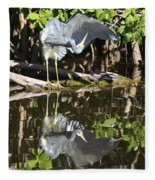 Reflected Great Blue Heron Fleece Blanket