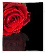Reflected Red Rose Fleece Blanket