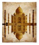 Reflected Taj Mahal Fleece Blanket