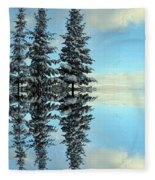 Reflecting Evergreens In Winter Fleece Blanket