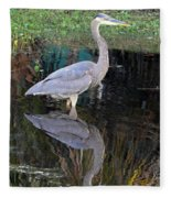 Reflecting Great Blue Heron Fleece Blanket