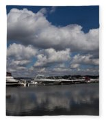 Reflecting On Boats And Clouds - Port Perry Marina Fleece Blanket