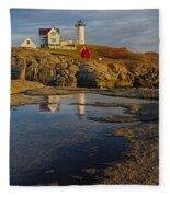 Reflecting On Nubble Lighthouse Fleece Blanket