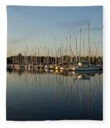 Reflecting On Yachts And Sailboats Fleece Blanket