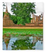 Reflecting Pool At Wat Mahathat In 13th Century Sukhothai Historical Park-thailand Fleece Blanket