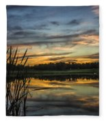 Reflection At Sunset With Cattails Fleece Blanket