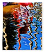Reflection Of A Flamingo 1 Fleece Blanket