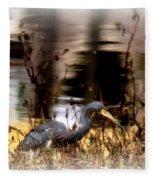 Reflection Of A Heron Fleece Blanket