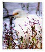 Reflection Of A Snowy Egret Fleece Blanket